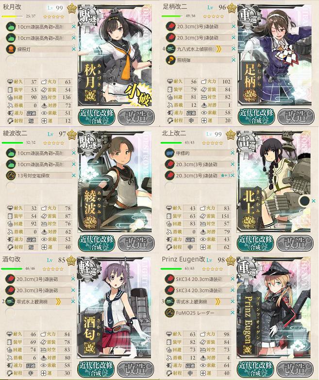 艦これ 2016年秋イベントE5最終編成第二艦隊
