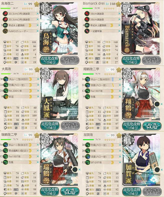 艦これ 2016年秋イベントE5最終編成第一艦隊
