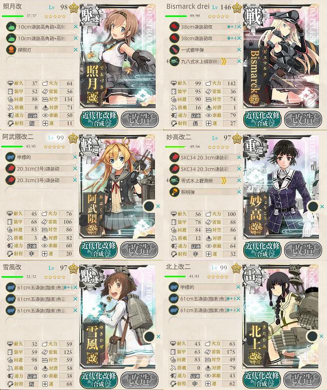 艦これ 2017春イベントE3戦力 第二艦隊