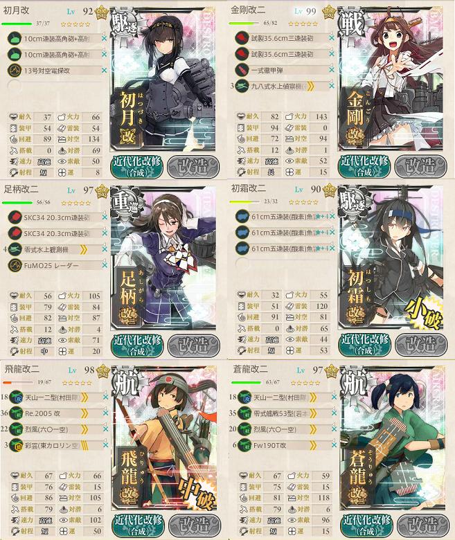 艦これ 2017春イベE2戦力 編成2
